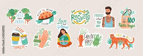 Photo Collection of ecology stickers with slogans - zero waste, recycle, eco friendly tools, environment protection