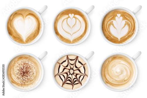 Leinwand Poster Set of coffee latte or cappuccino foam art