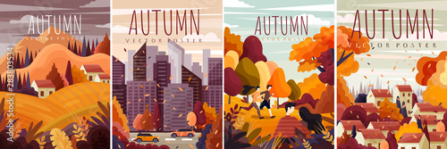 Billede på lærred Four different designs for autumn posters with colorful fall landscapes, citysca