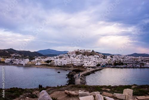 фотография Panorama of Naxos at Dusk agins cloudy sky