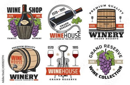 Photo Winehouse icons, wine and winery production