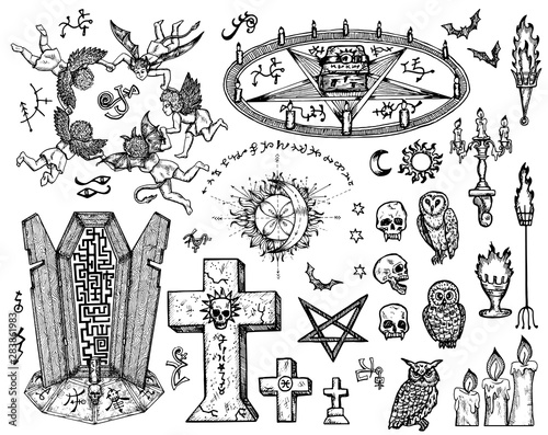 Vector engraved illustration in gothic and mystic style Fototapeta