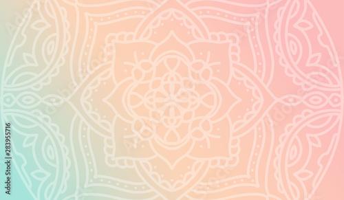 Fotografie, Obraz Dreamy peach pink gradient wallpaper with mandala pattern