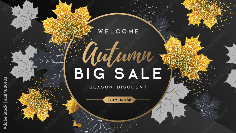Autumn big sale typography poster with golden and black autumn leaves. Nature concept <span>plik: #284000183 | autor: annbozhko</span>