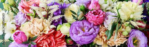Canvas-taulu Flower background with rose, eustoma, carnation and spiraea.