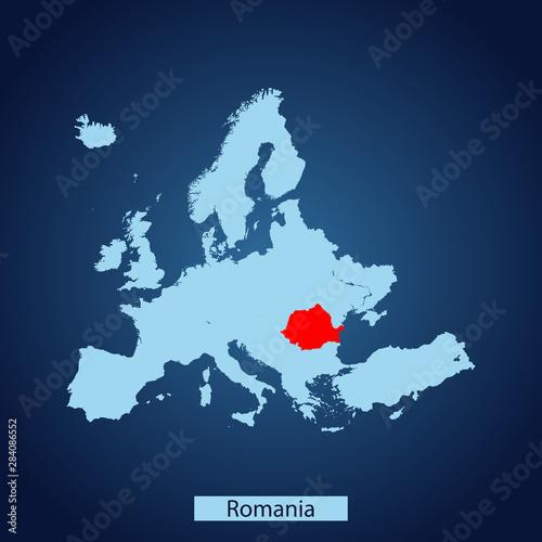 Wallpaper Mural map of Romania