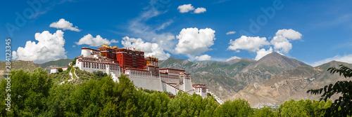 LHASA, TIBET / CHINA - July 31, 2017: Panorama of Potala Palace - home of the Dalai Lama and Unesco World Heritage Fototapeta