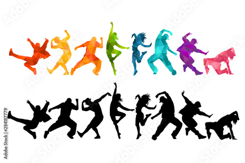 Valokuvatapetti Detailed vector illustration silhouettes of expressive dance colorful group of people dancing