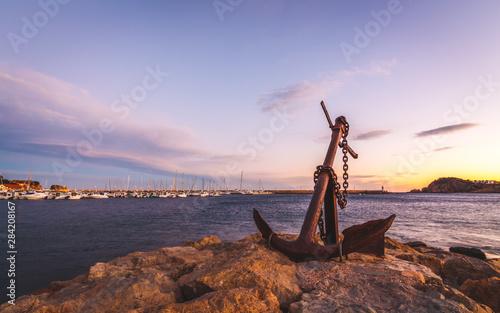 Tela brava coast seascape with a foreground anchor