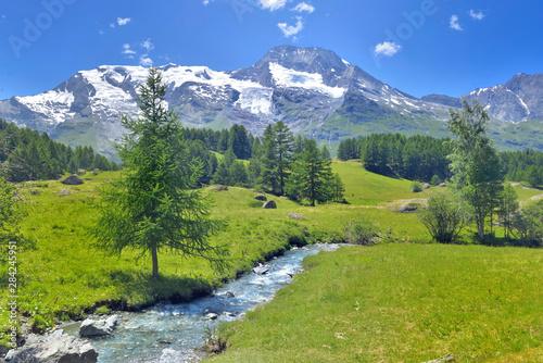 beautiful scenic ladscape in alpine mountain snowy and greenery meadow with a li Fototapeta