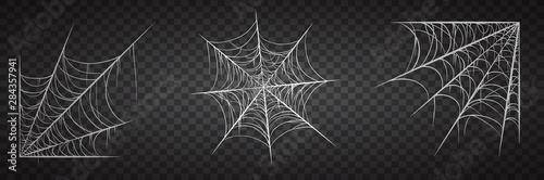 Fototapeta Spiderweb set, isolated on black transparent background