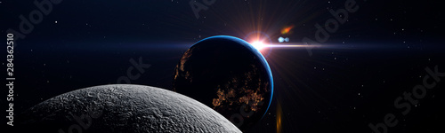 Canvas Print Luna eclipse in space concept showing the moon, planet Earth and the bright sun,