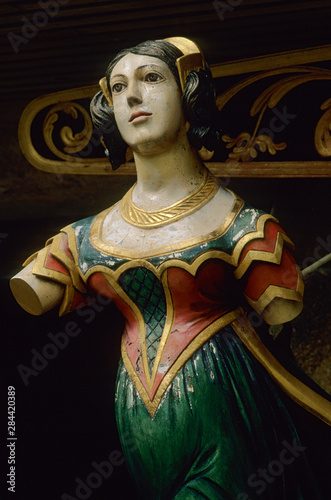 Canvas Print United Kingdom, Isles of Scilly, figureheads from wrecked ships.