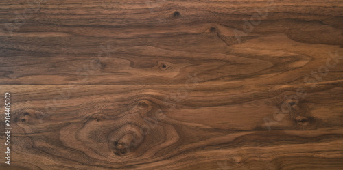 Canvas Print Black walnut wood texture from two boards oil finished