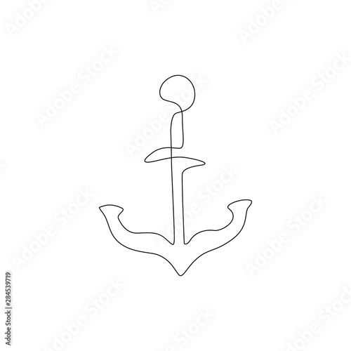 Fotografia, Obraz Anchor continuous line drawing, tattoo, sticker, patch, print for clothes and logo design, silhouette one single line on a white background, isolated vector illustration