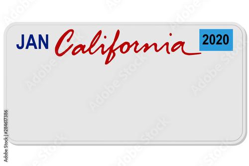 Fényképezés california new car digital registration plate vector