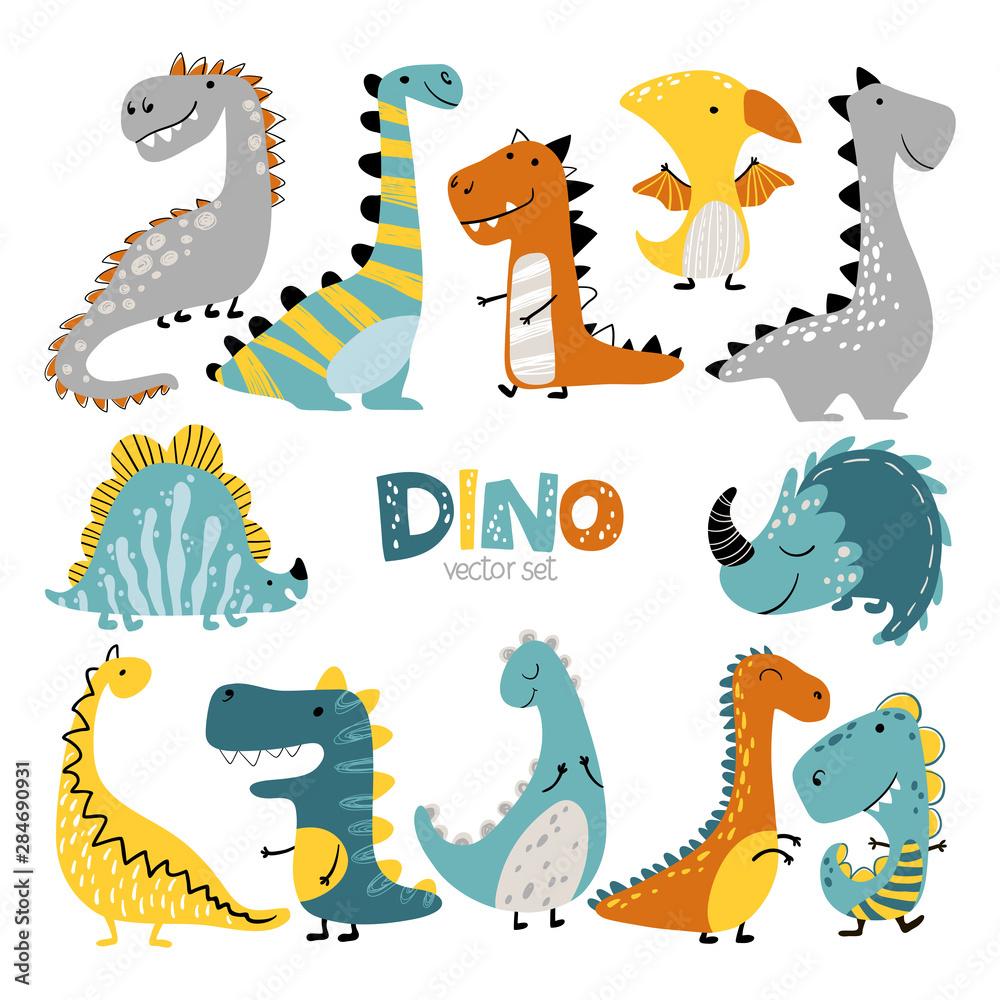 Dinozaury wektor zestaw w stylu skandynawskim kreskówka. Kolorowa śliczna ilustracja dla dziecka jest idealna do pokoju dziecięcego. <span>plik: #284690931 | autor: Светлана Харчук</span>