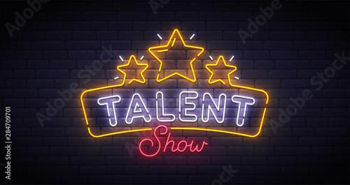 Fotografia Talent Show neon sign, bright signboard, light banner
