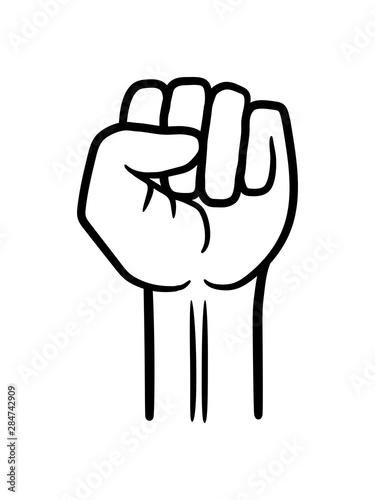Fototapeta revolution faust hand strecken oben luft halten zeigen zeichen symbol anarchie r