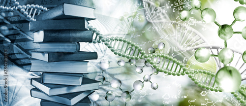 Photo Stack of books depicted on DNA background closeup