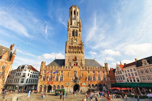 Fotografia The Belfry Tower, aka Belfort, of Bruges, medieval bell tower in the historical centre of Bruges, Belgium