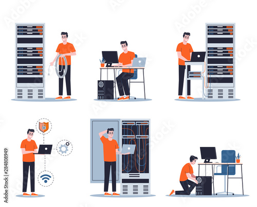 Fotografia Young male sysadmin set. Collection of man working
