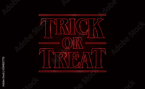 Fotografia Trick or Treat, Halloween text design with Red glow text on black background