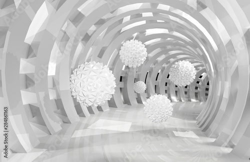 Foto mural 3d wall tunnel with flying balls 3d rendering