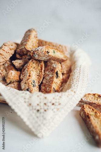 Italian cranberry almond biscotti at white background Fototapeta