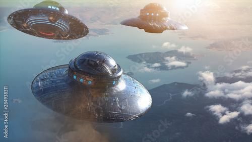Canvas Print ufo flying. 3d render