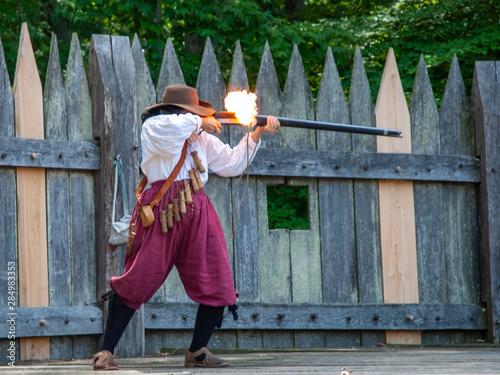 Canvastavla Jamestown rifleman firing