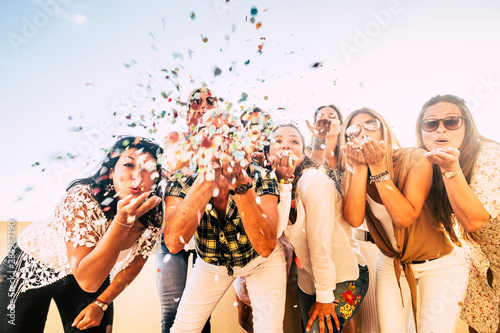Fotografering Happiness and joyful concept - group of happy women people celebrate