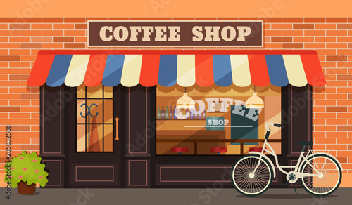 Photo Vintage coffee shop store facade with storefront large window