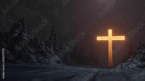 Leinwand Poster 3D Rendering of rocky mountain on dark blue sky background with Silhouette cross and glowing dramatic sunrise