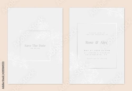 Cuadros en Lienzo Minimalist botanical wedding invitation card template design, white bower vine l