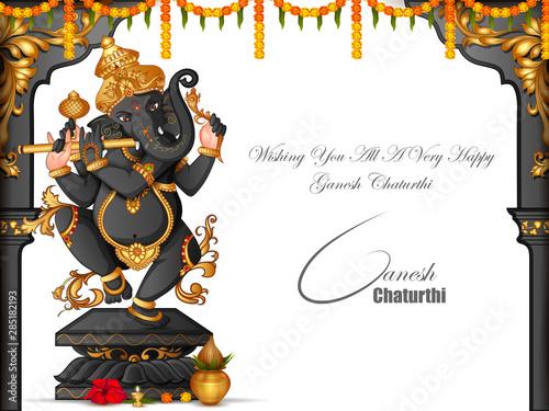 Photo vector illustration of Lord Ganapati for Happy Ganesh Chaturthi festival religio