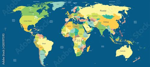 Naklejki na meble Bardzo szczegółowa polityczna mapa świata