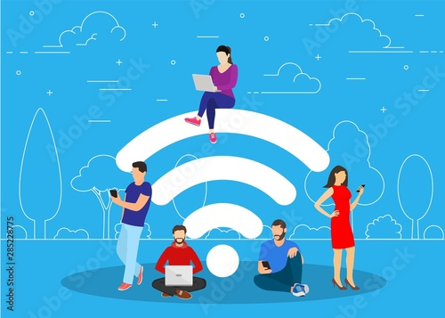 Tela People in free internet zone using mobile gadgets, tablet pc and smartphone