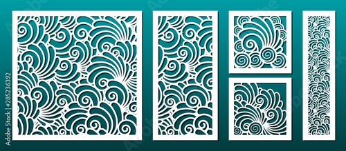 Valokuva Laser cut template pattern, vector set
