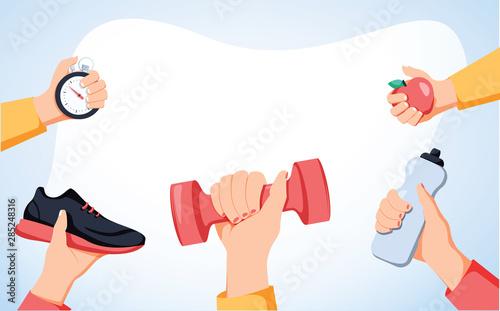Obraz na plátně Sport exercise web banner