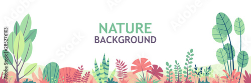 Flat nature background with copy space for text, for banner, greeting card, poster and advertising