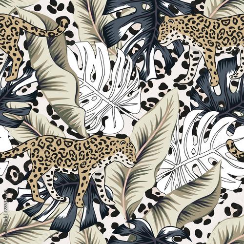 Wallpaper Mural Tropical leopard, banana, monstera palm leaves, animal print background