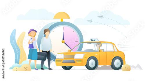 Fotografiet Professional taxi service flat vector illustration