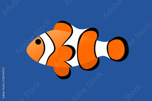 Wallpaper Mural Clownfish minimal cartoon style on blue water.