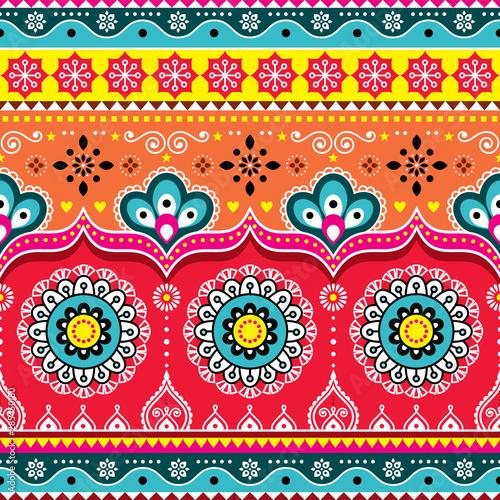 Fototapeta Pakistani or Indian truck art design, Jingle trucks seamless vector pattern, col