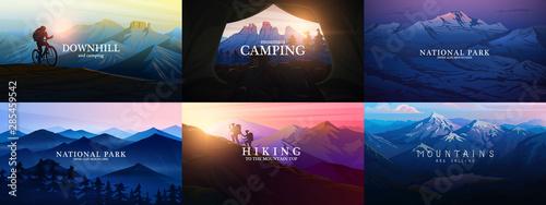 Obraz na płótnie Set of layered mountains for poster