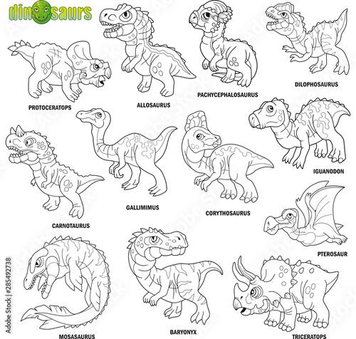 cartoon cute prehistoric dinosaurs, coloring book, image set фототапет
