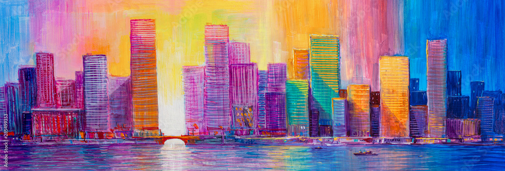 Abstract painting of urban skyscrapers.