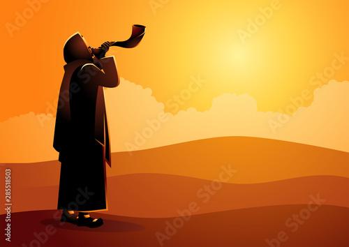 Photo Jewish man blowing the Shofar ram's horn