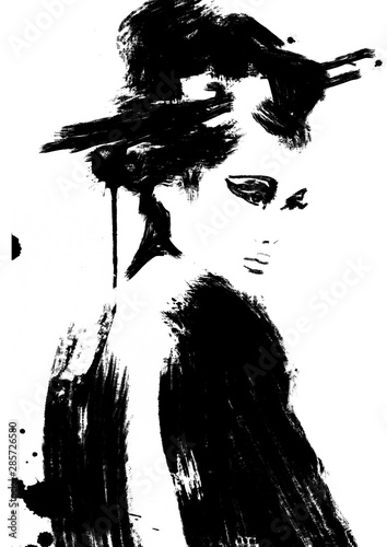 Fotografie, Tablou Abstract Geisha woman painting, black and white art
